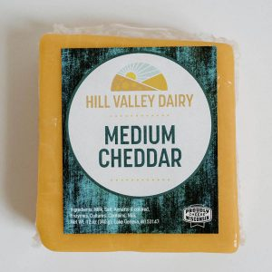 Hill Valley Dairy cheese cheddar medium made in Wisconsin